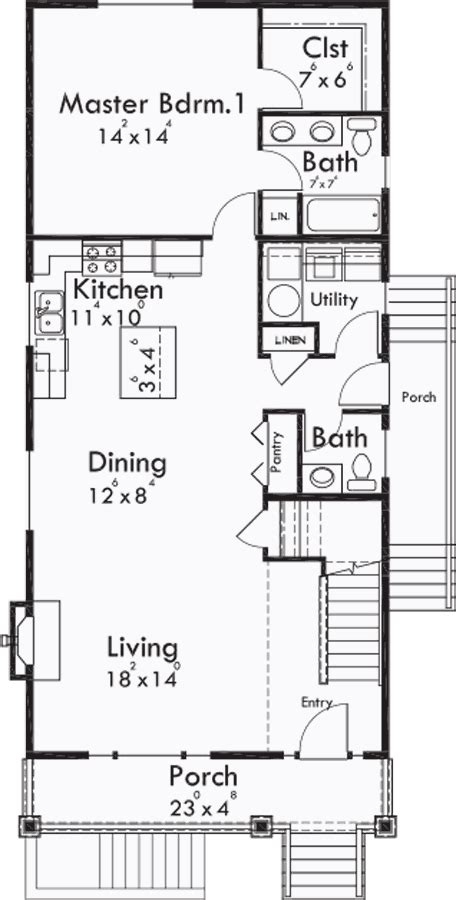 Narrow Apartment Plans by Narrow Lot Plan With Basement Apartment Two Family