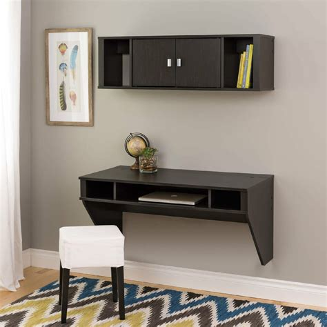 desk attached to wall wall mounted floating computer desk and hutch w storage