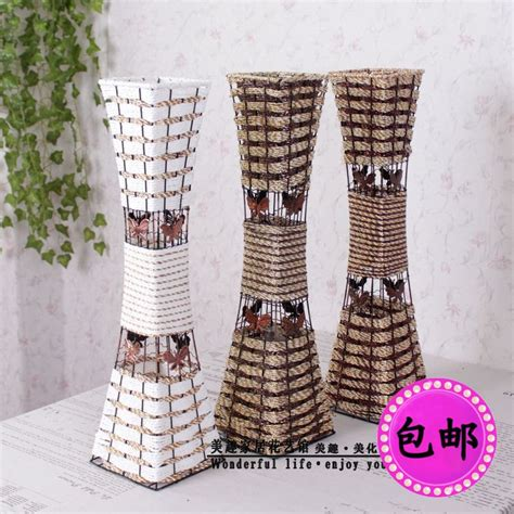 Large Wicker Floor Vases by Rustic Rattan Iron Fashion Large Floor Vase Invases From