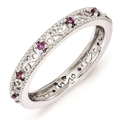silver ring rhodolite garnet stones