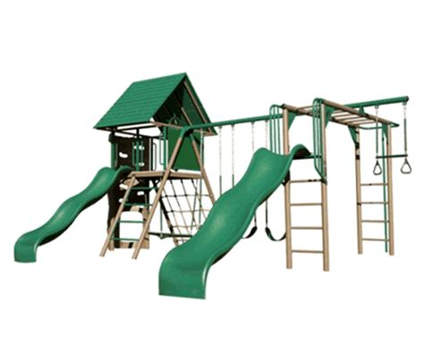 double slide swing set lifetime deluxe double slide earthtone playground swing