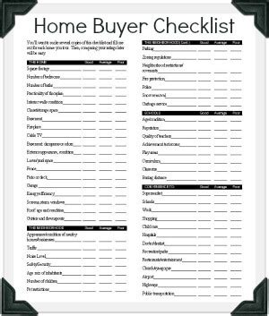 house checklist buying a house checklist template