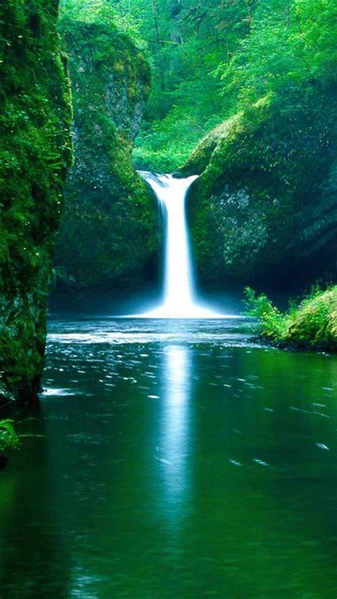 iphone  wallpapers hd beautiful green waterfall  lake
