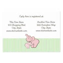 Baby Shower Cards Templates Baby Shower Registry Card Pink Elephant Hugs Business Card