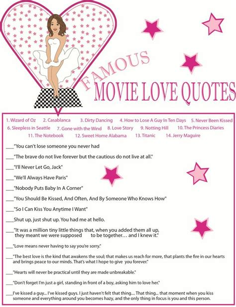 printable love games free printable movie love quotes quotesgram