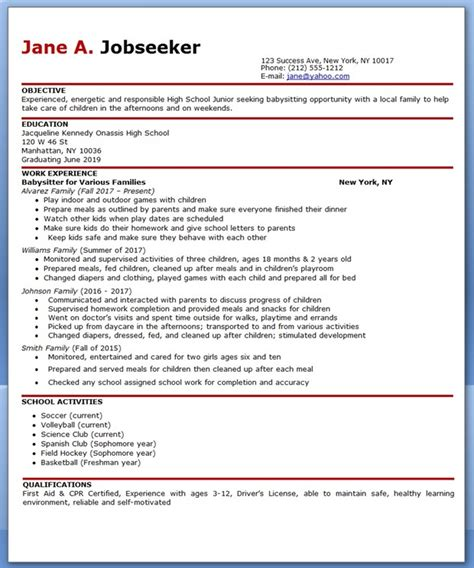 Resume For Babysitting Sample babysitter resume example resume downloads
