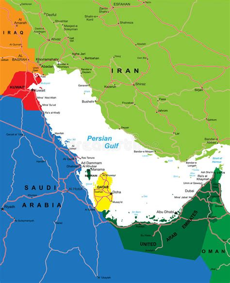 persian gulf region map royalty  stock images image