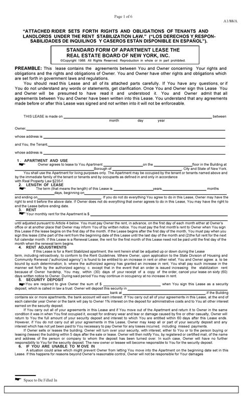Download Free New York Standard Rental Lease Stabilized With Rider Printable Lease Agreement Lease Rider Template