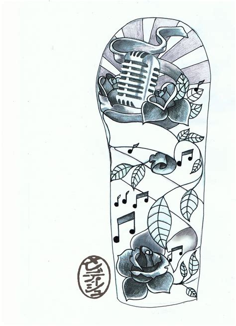 half sleeve tattoo drawing designs half sleeve design with 1950s mic and roses band
