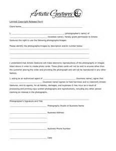 photographer copyright release form template sle copyright release form for photographers