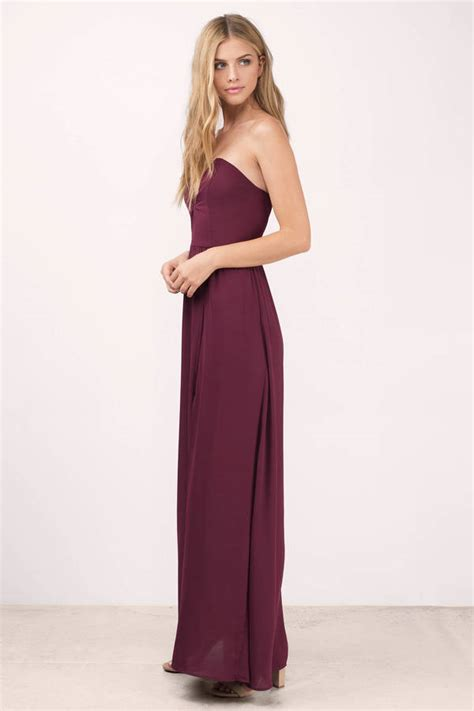 Wine Maxy sweetheart maxi dress wine maxi dress purple strapless