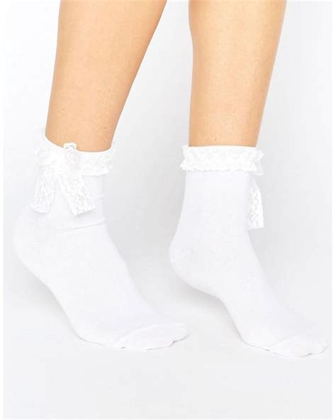 Lace Bow Trim asos bow lace trim ankle socks in white lyst