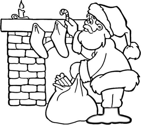 coloring pages santa chimney coloring pages of santa near fireplace christmas