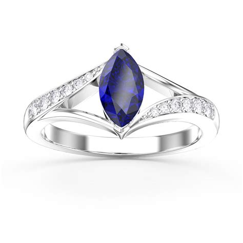 unity marquise blue and white sapphire platinum plated