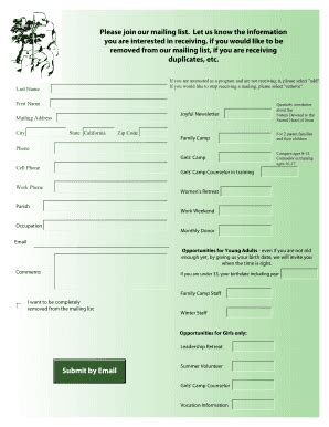Mailing List Template Forms Fillable Printable Sles For Pdf Word Pdffiller Join Our Email List Template