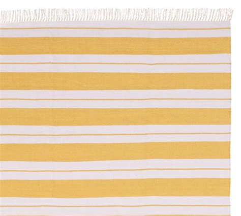 Yellow Striped Outdoor Rug Kilner Stripe Recycled Yarn Indoor Outdoor Rug Yellow Pottery Barn