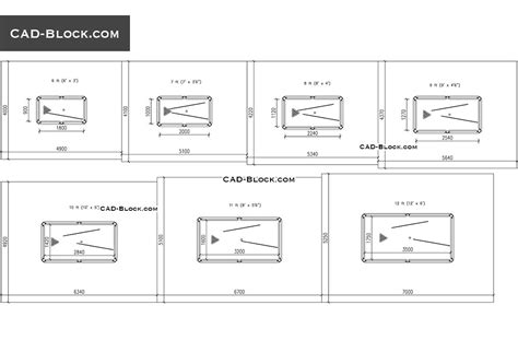 pool table room size guide drawings cad blocks free