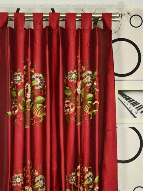 red embroidered curtains red embroidered vase tab top dupioni silk curtains