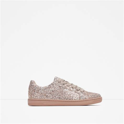 sparkle sneakers zara sparkle sneakers in pink lyst