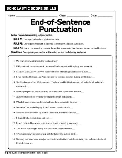 printable comma quiz worksheets ending punctuation worksheets opossumsoft