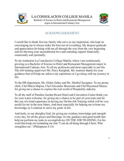 Acknowledgement Letter For Ojt ojt portfolio