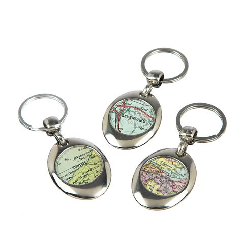 map double sided personalised keyring circle by ellie