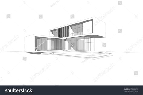 drawing of a house modern house wireframe drawing modern house stock illustration