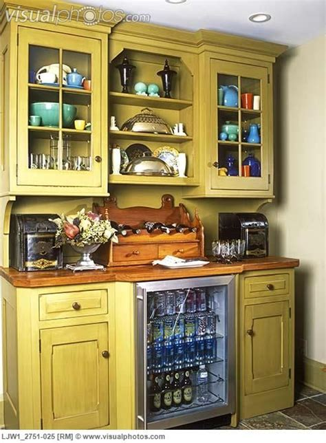 Wine Hutch Cabinet with refrigerator   CABINETS: Stand alone custom made hutch with glass door