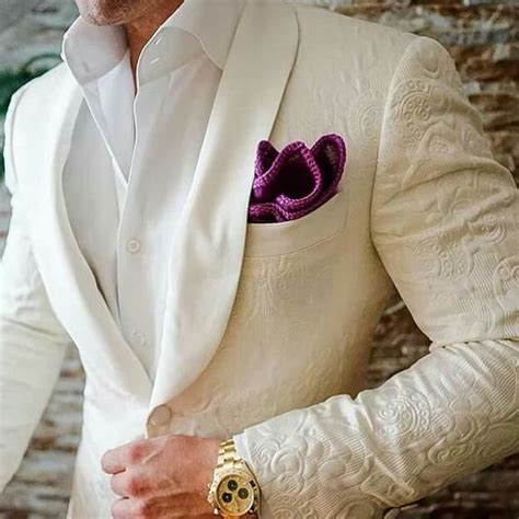 Latest Coat Pant Designs Ivory White Pattern Embossed