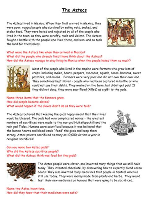 Aztec Worksheets aztecs comprehension by joannescrivens teaching