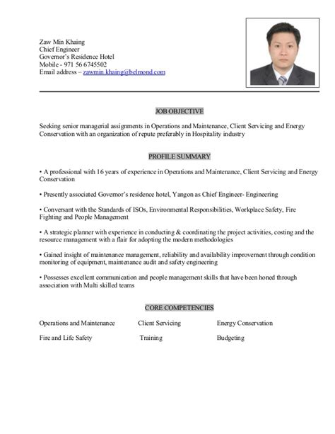 Hotel Chief Engineer Cover Letter by Zaw Min Khaing Resume