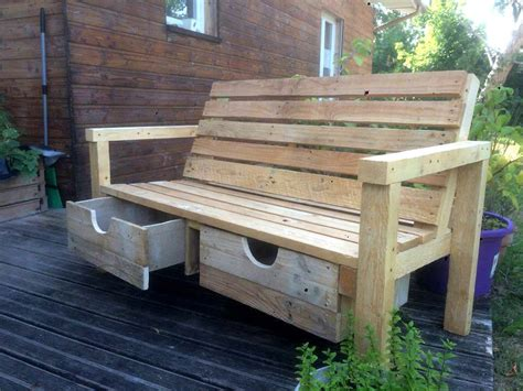 wooden pallet bench wood pallet outdoor bench with 2 drawers 101 pallets