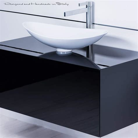 Black And White Vessel Sink by 40 Inch Black Lacquer Bathroom Vanity And White Vessel