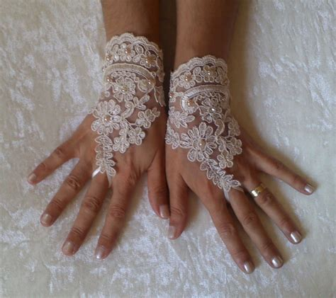 Rhinestone Wedding Gloves chagne pearl rhinestone lace wedding gloves bridal