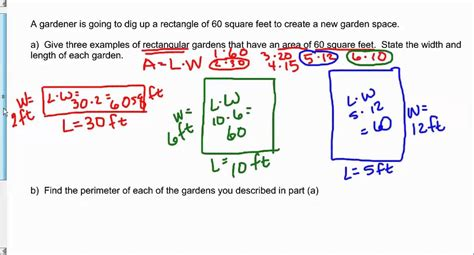 how to find sqft of a room find three exles of a rectangle with an area of 60 square and find each perimeter