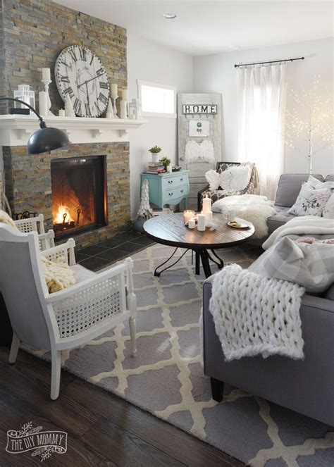 create  cozy hygge living room  winter home