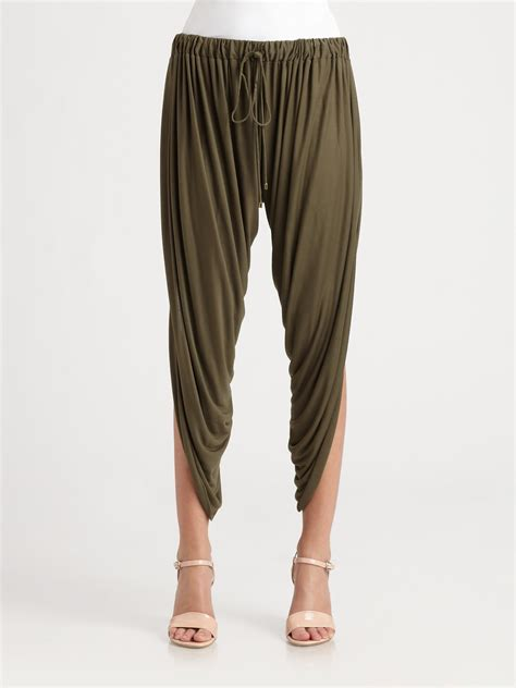 draped harem pants haute hippie draped modal harem pants in brown lyst