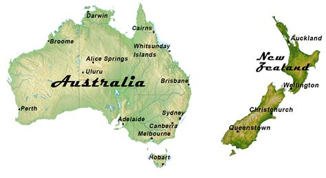 map of australia and new zealand cervan hire australia and new zealand cervan hire