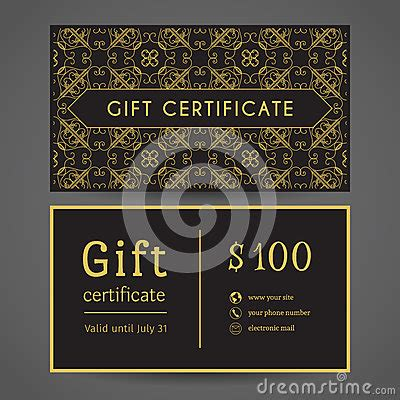 vintage gift certificate template vintage gift certificate stock vector image 64565691