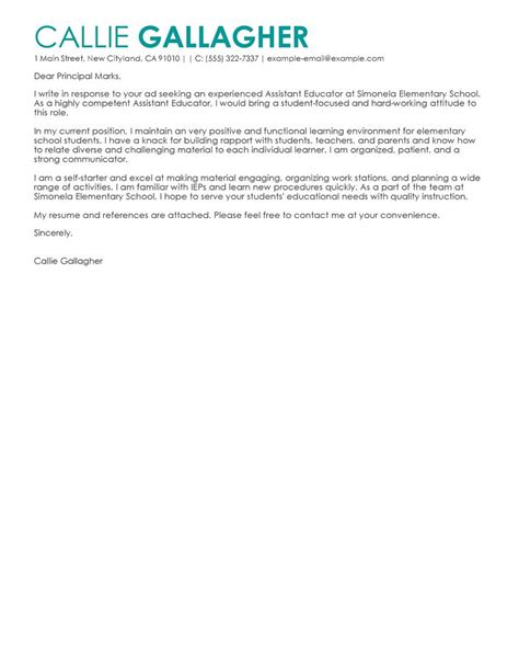 Quality Assistant Cover Letter by Leading Professional Assistant Educator Cover Letter Exles Resources Myperfectcoverletter