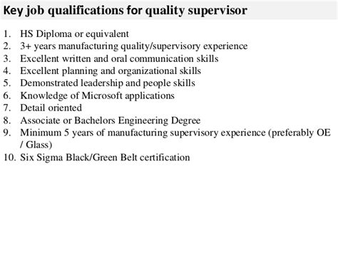What Is Job Title In Resume by Quality Supervisor Job Description