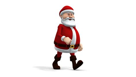 anmated waving snata santa claus hip hop waving and walking away from screen at end isolated transparent