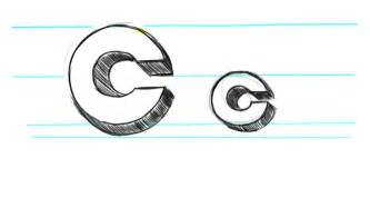how to draw 3d letters c uppercase c and lowercase c in
