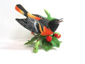 Bird Figures by Lenox Bird Baltimore Oriole Figurine Porcelain By