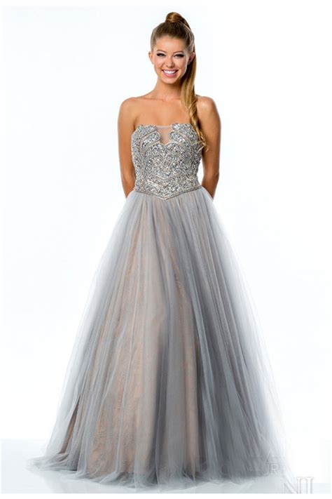strapless beaded prom dress gown strapless low back silver tulle beaded prom
