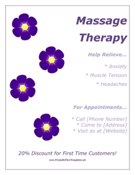 templates for massage flyers massage flyer