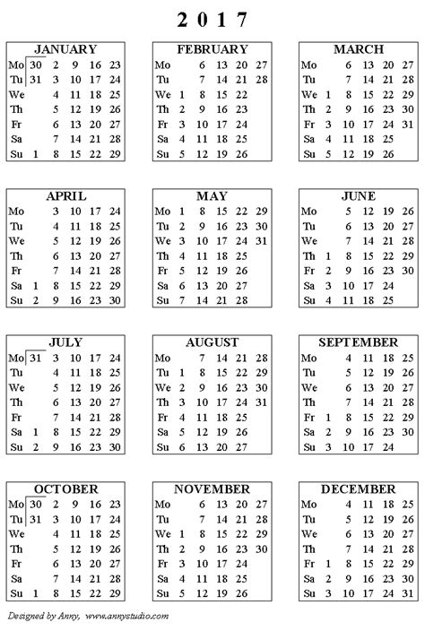 free printable 2017 calendar on one page 2016 2017 calendar printable one page calendar template 2016