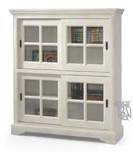 Bookcase With Sliding Glass Doors Pine Sliding Door Bookcase In Sand Finish With Seeded Glass