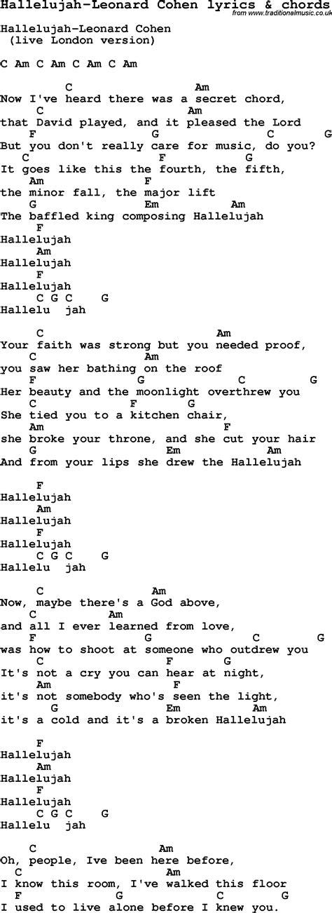 hallelujah lyrics full version leonard cohen love song lyrics for hallelujah leonard cohen with chords