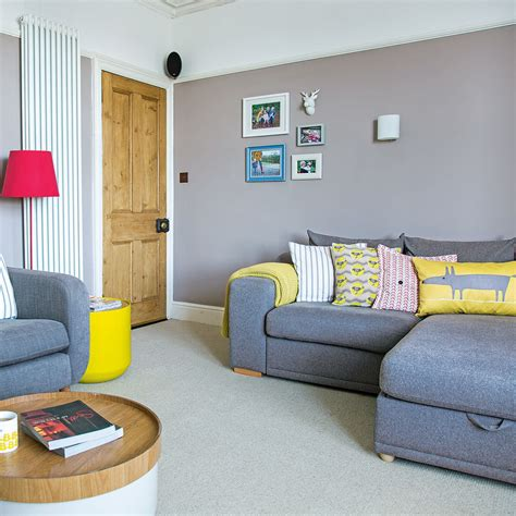 living room ls uk grey living room with modern yellow accessories ideal home